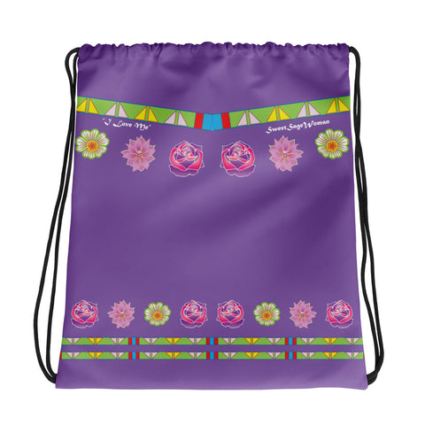 """I Love Me"" Sweet Sage Woman Drawstring bag"