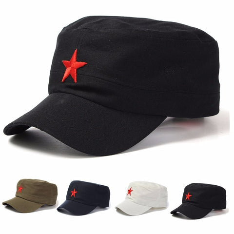Unisex Red Star Cotton Army, Cadet Military Cap Adjustable Hat - MooBooExpress