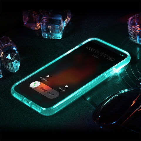 Rock Clear Crystal Incoming Call LED Flashlight Case For iPhone X