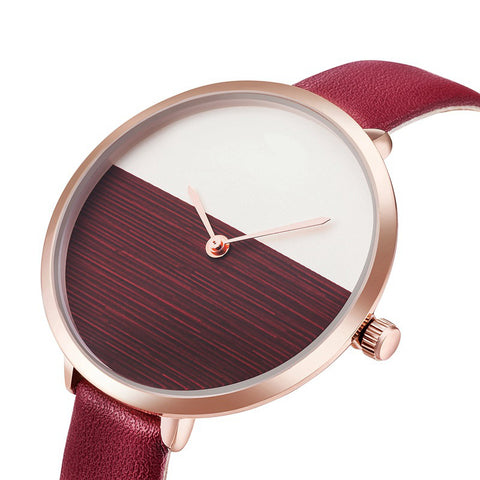 Colorful Designs Watch Thin Leather Strap Women Quartz Watch