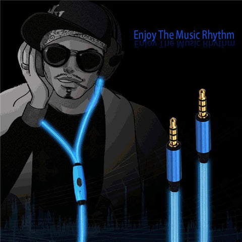 Visible LED Glow Stereo Earbud Headphone With Mic - MooBooExpress