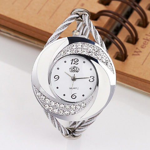 CUSSI Crystal Round Dial Women Watch, Weave Band Analog Bracelet Watch - MooBooExpress