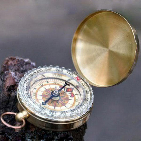 Outdoor Camping Hiking, Brass Survival Pocket Compass - MooBooExpress