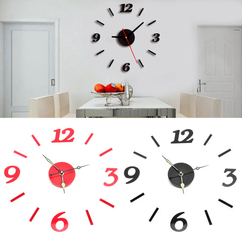 Acrylic 3D Numbers Mirror Sticker, Wall Clock Modern Art Home Room Decor - MooBooExpress