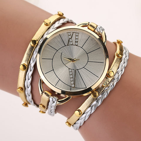 Fashion Big Dial Women Ladies Bracelet Watch, With Weaving Hand Rope Watch Strap - MooBooExpress