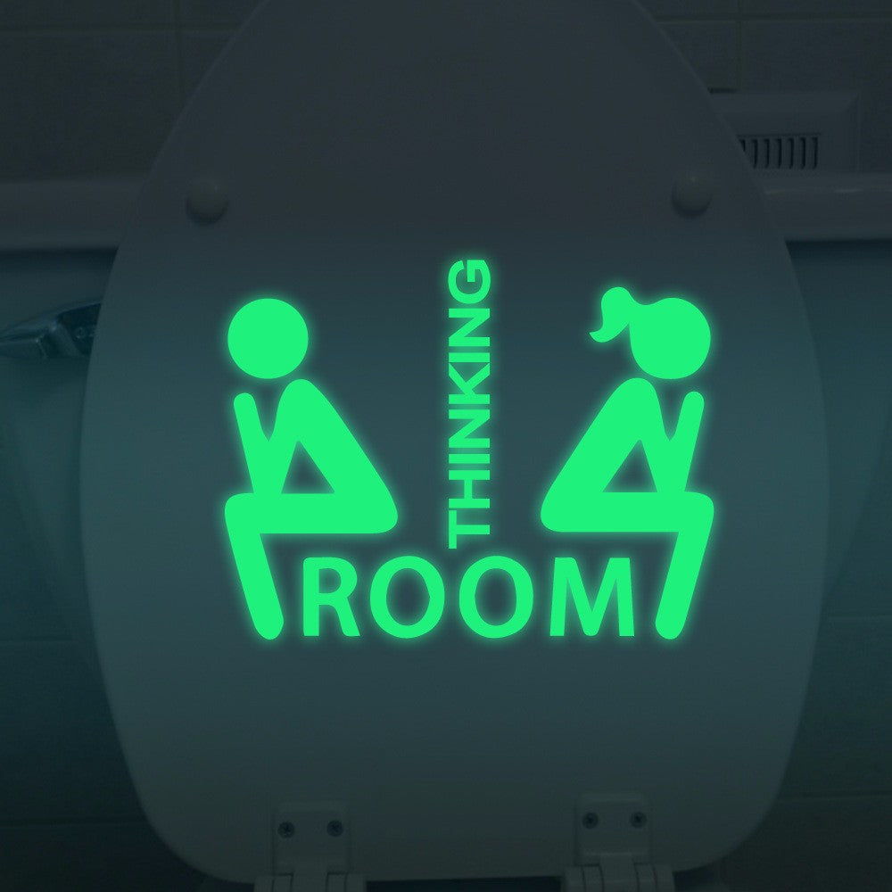 Fluorescent Glow Toilet Wall Sticker, Room Thinking Downloading