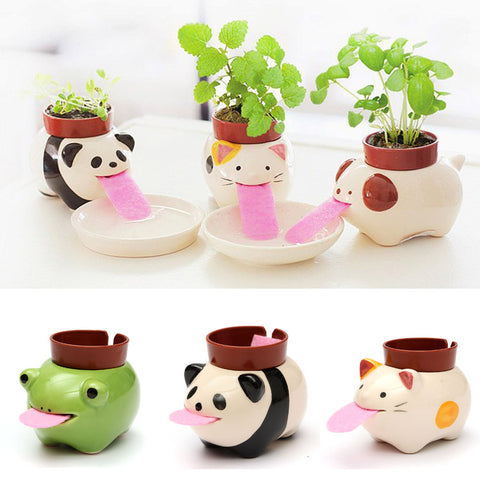 Mini Ceramic Animal Tongue Self-watering Potted, Plant Home Decor - MooBooExpress