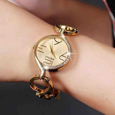 WEIQIN Women Quartz Watch Retro Elegant Rhinestone, Dial Bracelet Watch - MooBooExpress