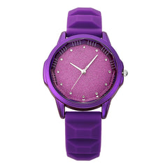 Fashionable Rhinestone Silicone Strap Women Wrist Quartz Watches