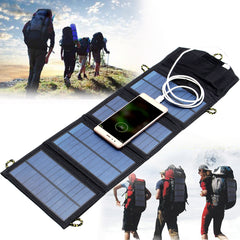 IPRee? 5V 7W Portable Solar Panel Outdoor Foldable Charger Power Bank With USB Port