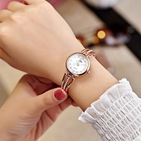 Fashion Round Dial Rhinestones, Lady Bracelet Women Dress Quartz Watch - MooBooExpress