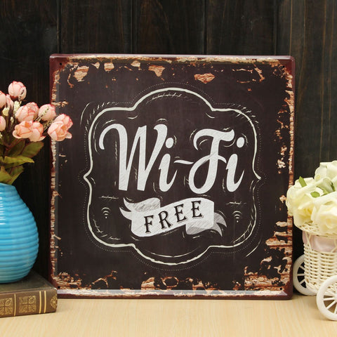 Wifi Free Tin Sign Vintage, Metal Plaque Wall Decor - MooBooExpress