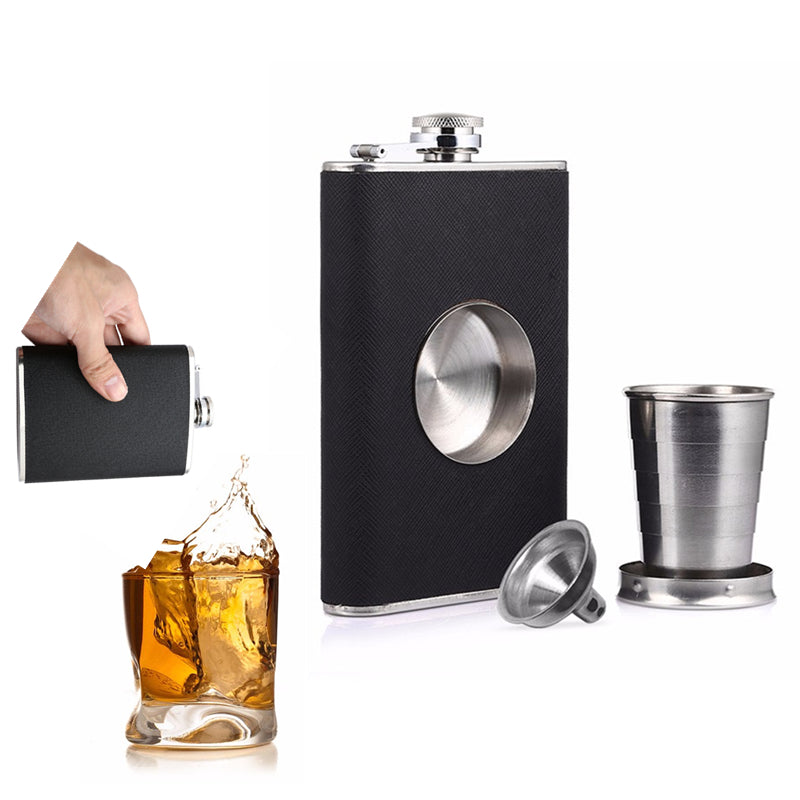 8oz Flagon Hip Flask, Whiskey Stainless Steel Folding Cup Leak Proof Funnel