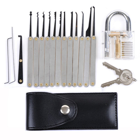 DANIU Transparent Practice Padlock with 12pcs Unlocking Lock Pick Tools - MooBooExpress
