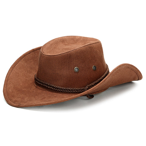 Cowboy Hats Classic Faux Leather, Western Beach Sun Wide Brim Camping Caps - MooBooExpress