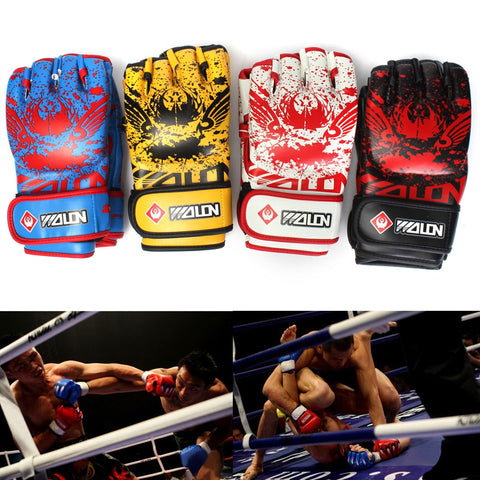 Leather Training Grappling UFC Boxing MMA Sanda Gloves - MooBooExpress