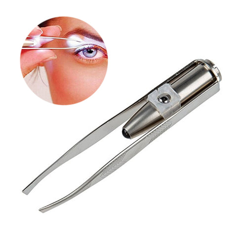 Stainless Steel LED Lighted Eyebrow Tweezers, Eyelash Hair Removal Makeup Tool