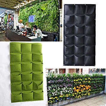 18 Pockets Wall Hanging Felt Planter Bags, Indoor Outdoor Plant Growing Bag
