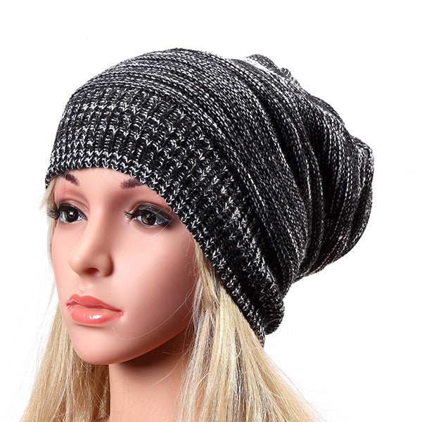 Women Fashion Knitted Woolen Beanie Hat, Casual Foldable Warm Head Cap