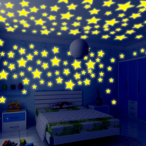 Honana 100 PCS Fluorescent Glow Star Wall Sticker Decor Sticker - MooBooExpress