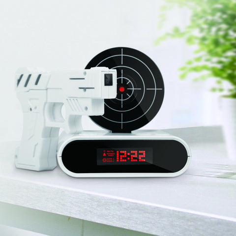 Loskii Target Time Display Gun Alarm Clock, Infrared Target Sound Game and Alarm Mode - MooBooExpress
