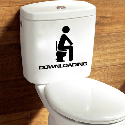 Toilet Wall Sticker Bathroom Decor, Thinking Downloading Funny Toilet Sign Decal Sticker - MooBooExpress