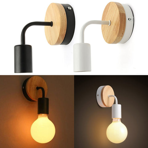 Modern White Black Wall Lamp Fixture Holder, Wood Base Home Decor - MooBooExpress