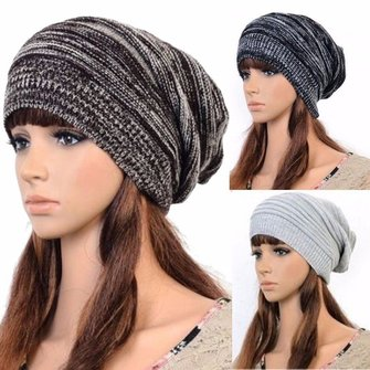 Women Fashion Knitted Woolen Beanie Hat, Casual Foldable Warm Head Cap - MooBooExpress