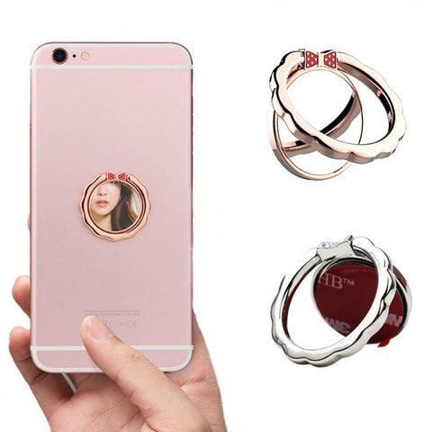 Magnetic 360 Degree Rotation Metal Mirror Finger Ring Stand Phone - MooBooExpress