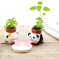 Mini Ceramic Animal Tongue Self-watering Potted, Plant Home Decor
