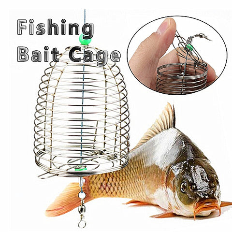 ZANLURE 10g Stainless Steel Wire Fishing Bait Lure Cage, Fishing Trap Basket - MooBooExpress