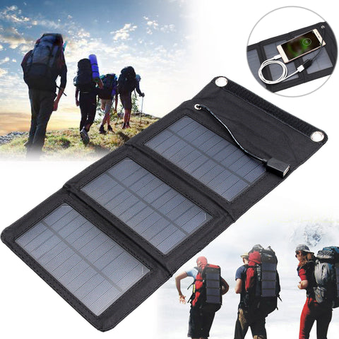 IPRee? 5V 5W Portable Solar Panel Travel Charger Power Bank With USB Port