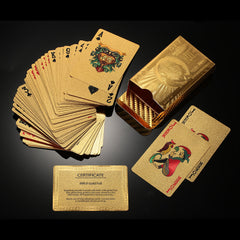 24K Gold Plated Poker Playing Cards Certficate Dollar EURO