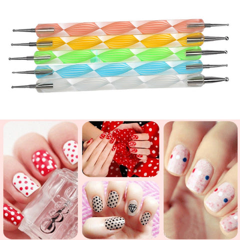 5Pcs Ways Color Nail Art Dotting Pen - MooBooExpress