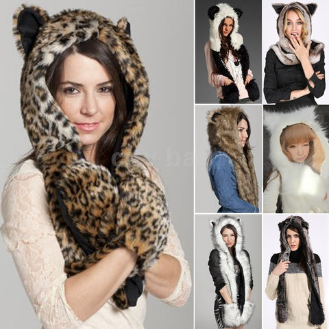 Winter Faux Animal Fur Hat, Fluffy Plush Cap Scarf Gloves - MooBooExpress