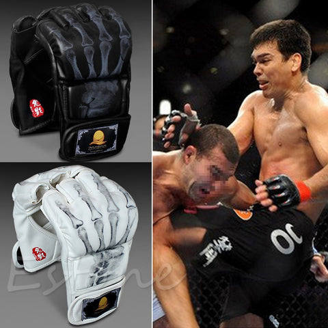 Leather MMA UFC Sparring Grappling Combat Muay Thai Black Gloves - MooBooExpress