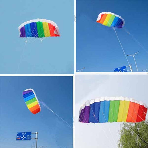 Nylon Line Plus Parachute Rainbow Sports Beach Kite - MooBooExpress