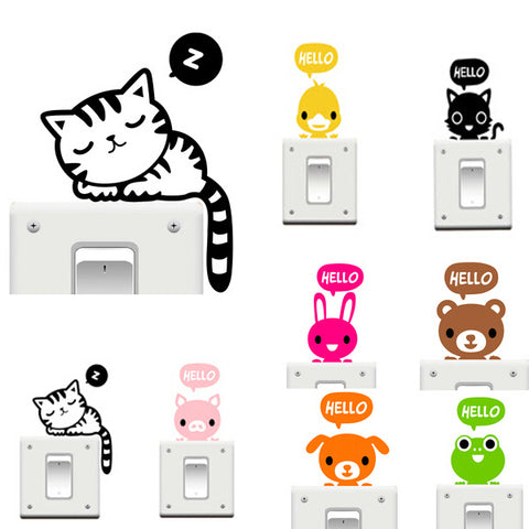 Vinyl Removable Funny Cat Switch Stickers, Art Home Decor - MooBooExpress