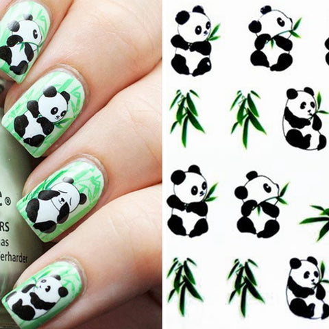 Panda Pattern Design Water Transfers Nail Sticker - MooBooExpress