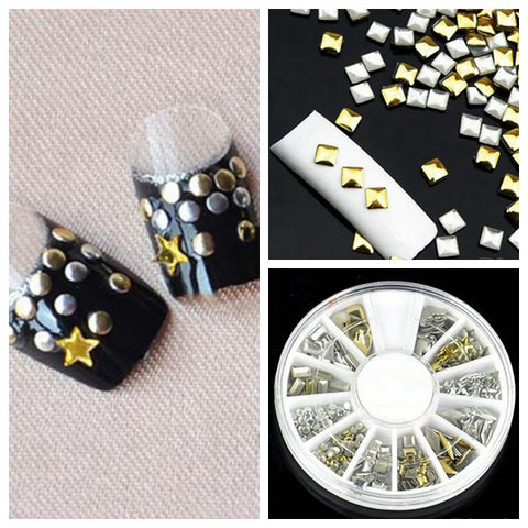 6 Styles Mix Shape Gold Silver Stud, Nail Art Decoration Wheel - MooBooExpress