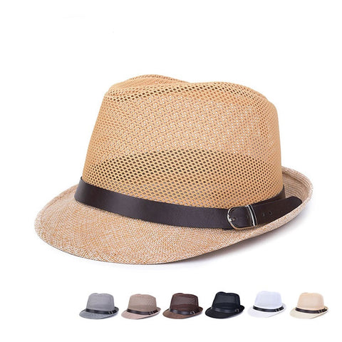 Hollow Braid Fedora Cap, Beach Breathable Sun Flax Panama Hat - MooBooExpress