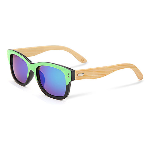 UV400 Bamboo Sunglasses, Mirror Color Frame Wooden Eyewear Glasses - MooBooExpress