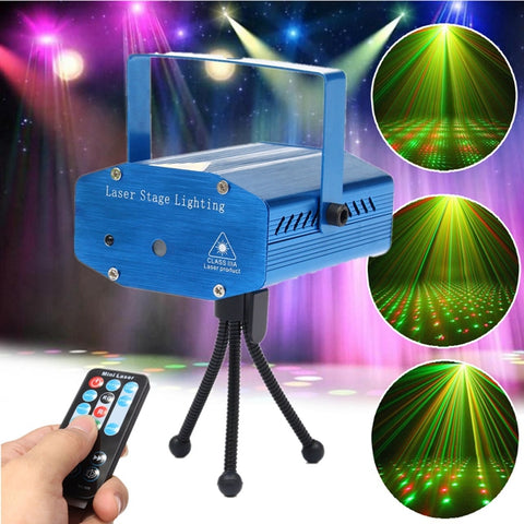 Mini Auto/Voice Control LED Laser Stage Light Projector With Remote - MooBooExpress