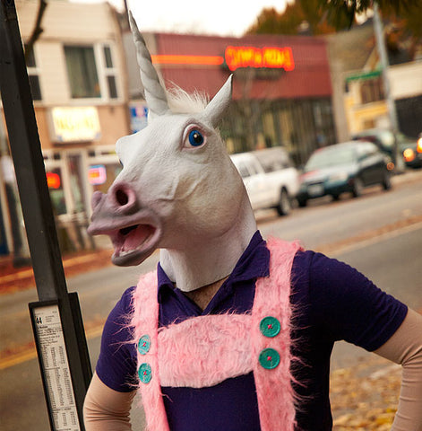 Magical Costume Party, Adult Unicorn Latex Head Mask - MooBooExpress