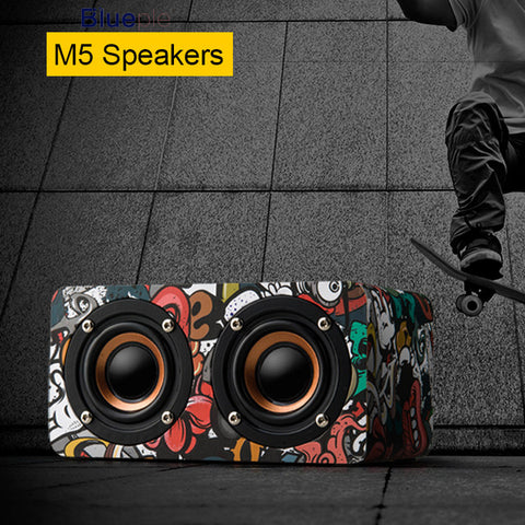 Wooden Dual Driver Stereo Bass Bluetooth Speaker With Mic - MooBooExpress