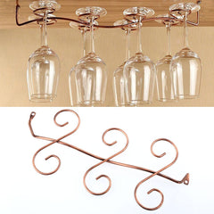 6 Wine Glass Rack Hanging Holder, Shelf Kitchen Drinks Holder Copper Color