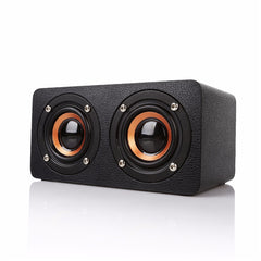 Wooden Dual Driver Stereo Bass Bluetooth Speaker With Mic