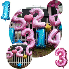 40 Inch Aluminum Foil Number Balloon, Heart Shape Pattern Party Decor