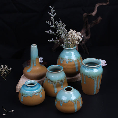 Zakkz Glaze Ceramic Vase Ornaments, Handmade Flower Arrangement Pottery Decor - MooBooExpress