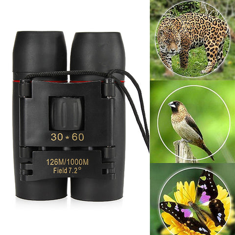 30x60 Folding Binocular HD Red Coated Film Lens, Telescope Low Light Night Vision - MooBooExpress